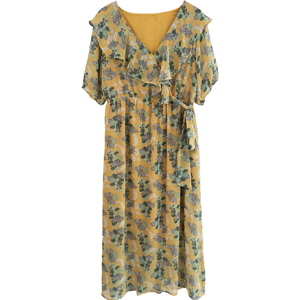 spring new Korean version of Japanese literary V-neck long dress 590133737681#4043726085605