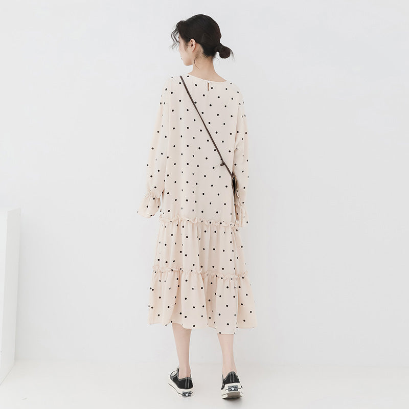 spring new Korean version of the Japanese wave point small fresh long dress