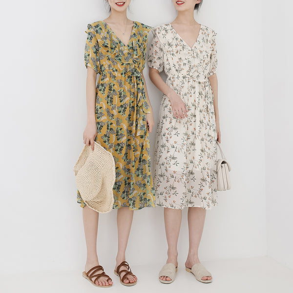 spring new Korean version of Japanese literary V-neck long dress