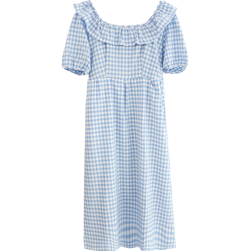 spring new Korean version of the Japanese cute plaid one shoulder dress 590438759974#4223491995036