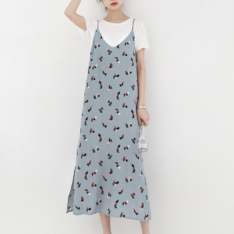 spring new Korean version of the fresh retro color strap dress