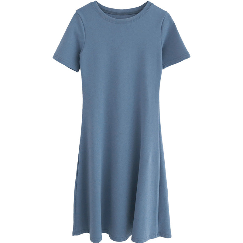 summer new retro temperament a word Slim round neck short-sleeved dress 590285242429#4054500885812