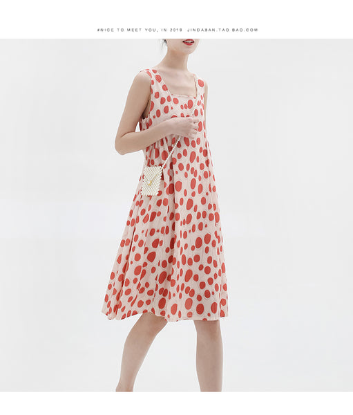 spring and summer new Korean version of the retro red wave point vest sleeveless dress