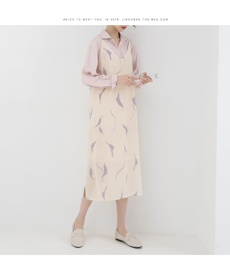 spring new Korean version of the Japanese fresh sling in the long dress