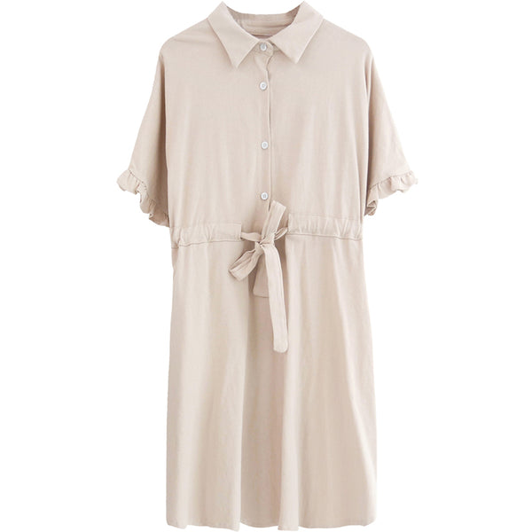 spring new Korean version of temperament fresh casual solid color Polo collar dress 590438367531#4051516284555