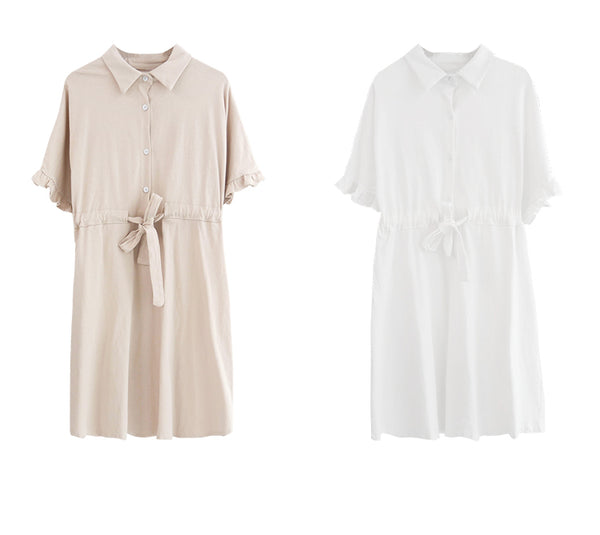 spring new Korean version of temperament fresh casual solid color Polo collar dress