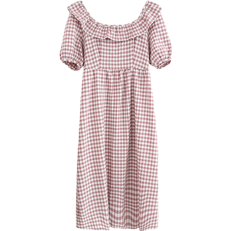 spring new Korean version of the Japanese cute plaid one shoulder dress 590438759974#4223491995037