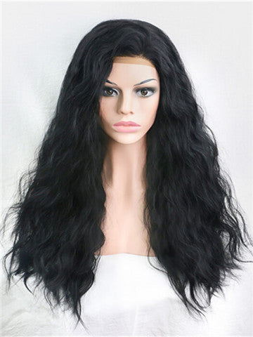Obsidian Black Curly Synthetic Lace Front Wig - FashionLoveHunter