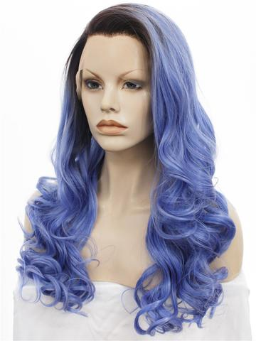 Ocean Blue Ombre Long Wavy Synthetic Lace Front Wig - FashionLoveHunter