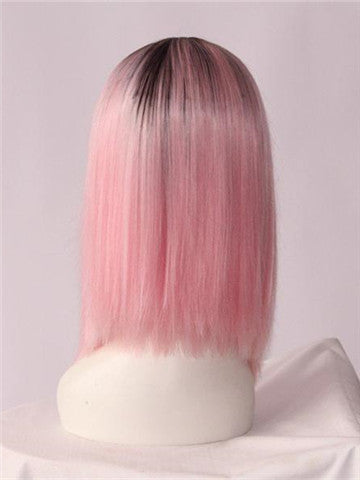 Peach Blossom Pink Bob Synthetic Lace Front Wig - FashionLoveHunter