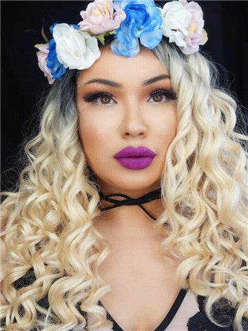 Platinum Blonde #1B/613 Ombre Curly Synthetic Lace Front Wig - FashionLoveHunter
