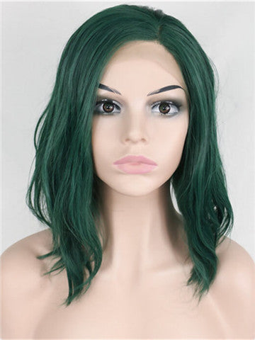 Polaris Green Bob Wave Synthetic lace front wig - FashionLoveHunter