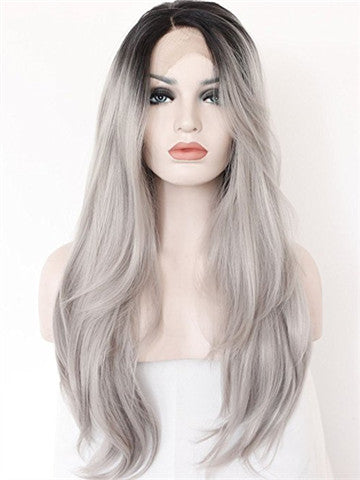 Popular Black Roots Grey Ombre Long Synthetic Lace Front Wig - FashionLoveHunter