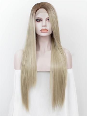 Best Seller Long Brown Golden Blonde Ombre Synthetic Lace Front Wig - FashionLoveHunter