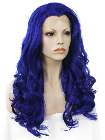 Dark Blue Drag Queen Wave Long Synthetic Lace Front Wig