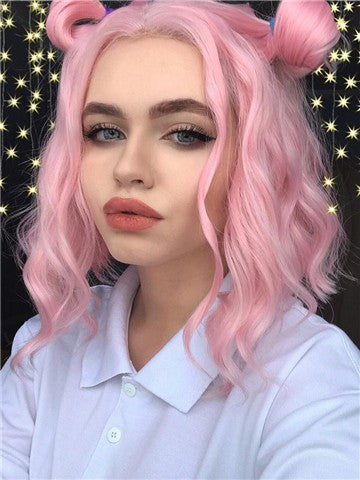 Pure Pink Wave Bob Synthetic Lace Front Wig - FashionLoveHunter