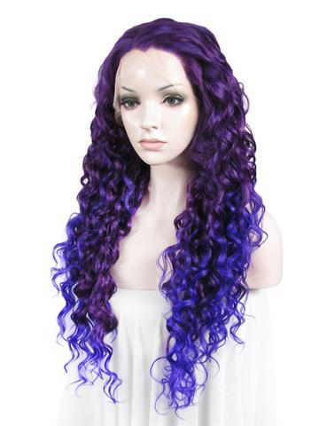 Delphinium Purple Blue Ombre Curly Synthetic Lace Front Wig - FashionLoveHunter