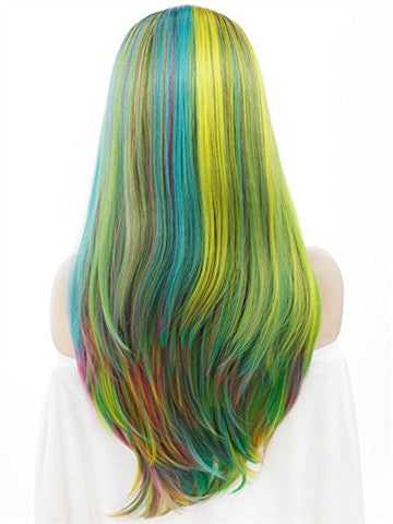 Rainbow Polychrome Costume Synthetic Lace Front Wig - FashionLoveHunter
