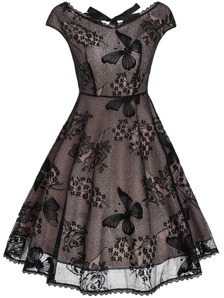 Black 1950s Lace Butterfly Swing Dress