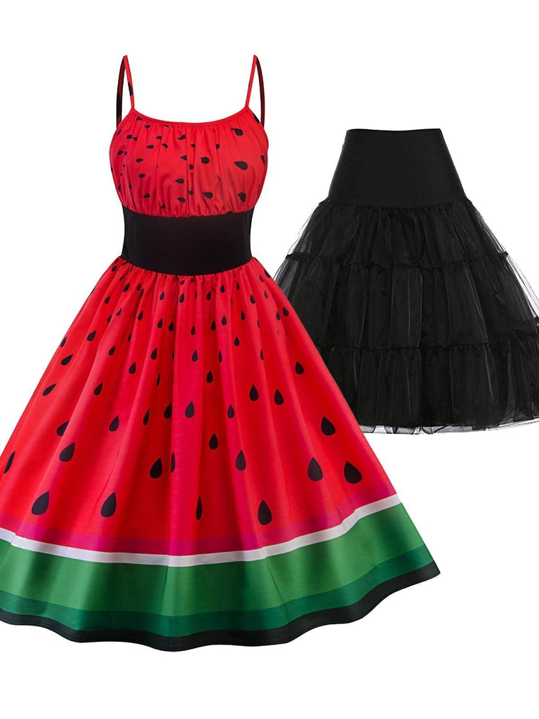 2PCS Top Seller 1950s Watermelon Dress & Black Petticoat
