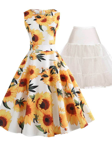 2PCS Top Seller 1950s Sunflowers Dress & White Petticoat