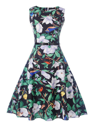 1950s Floral Leaf Bird Swing Dress