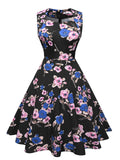 1950s Floral Print Swing Party Dress