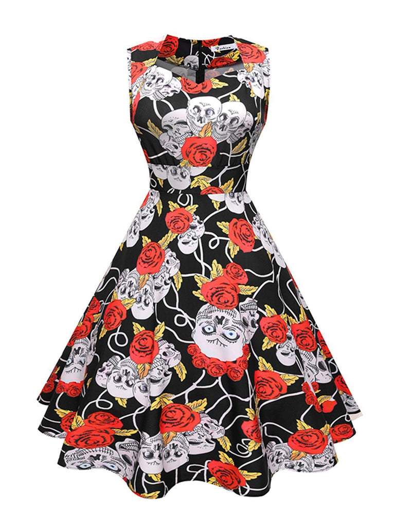 Black 1950s Skull Rose  Swing Party Dress