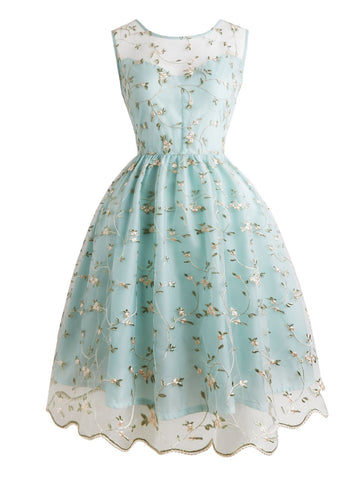 1950s Floral Embroidery Lace Dress