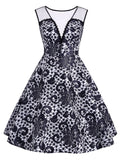 Black 1950s Floral Lace Dress