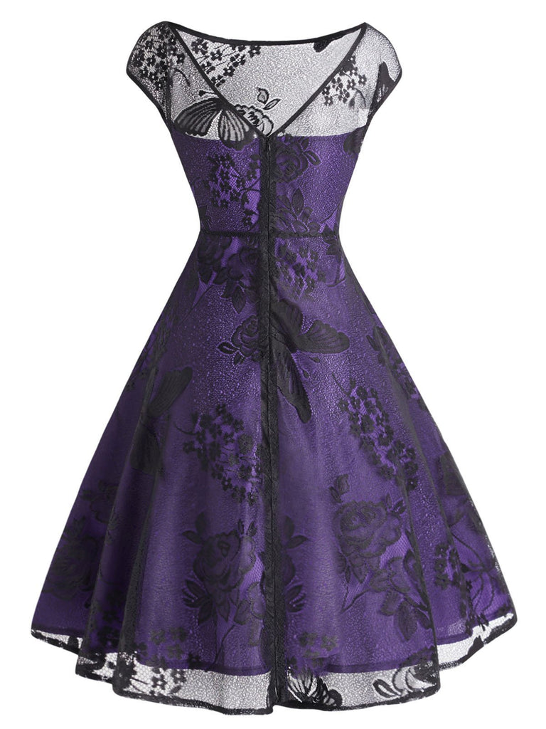 Purple 1950s Lace Mesh Floral Dress