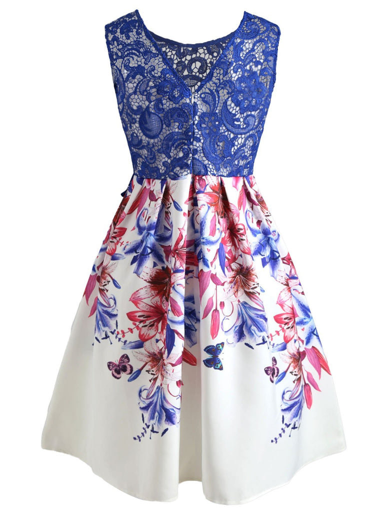 Blue 1950s Lace Floral Patchwork Dress