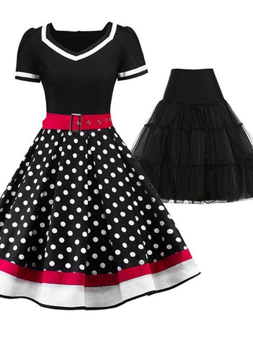2PCS Top Seller 1950s Polka Dot  Dress & Black Petticoat