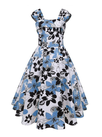 1950s Floral Square Neck Swing Dress