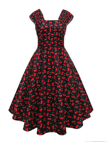 1950s Cherry Square Neck Swing Dress