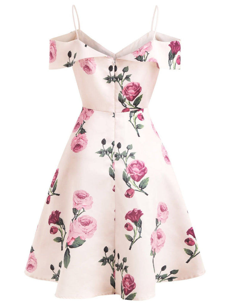 Special Pink 1950s Floral Spaghetti Strip Dress