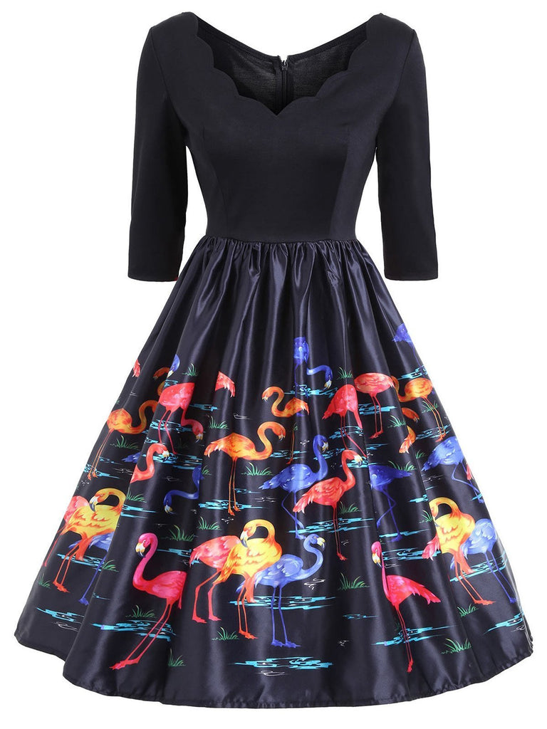 Plus Size 1950s Flamingo V Neck Dress