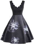 Black 1950s Floral Patchwork Swing Dress