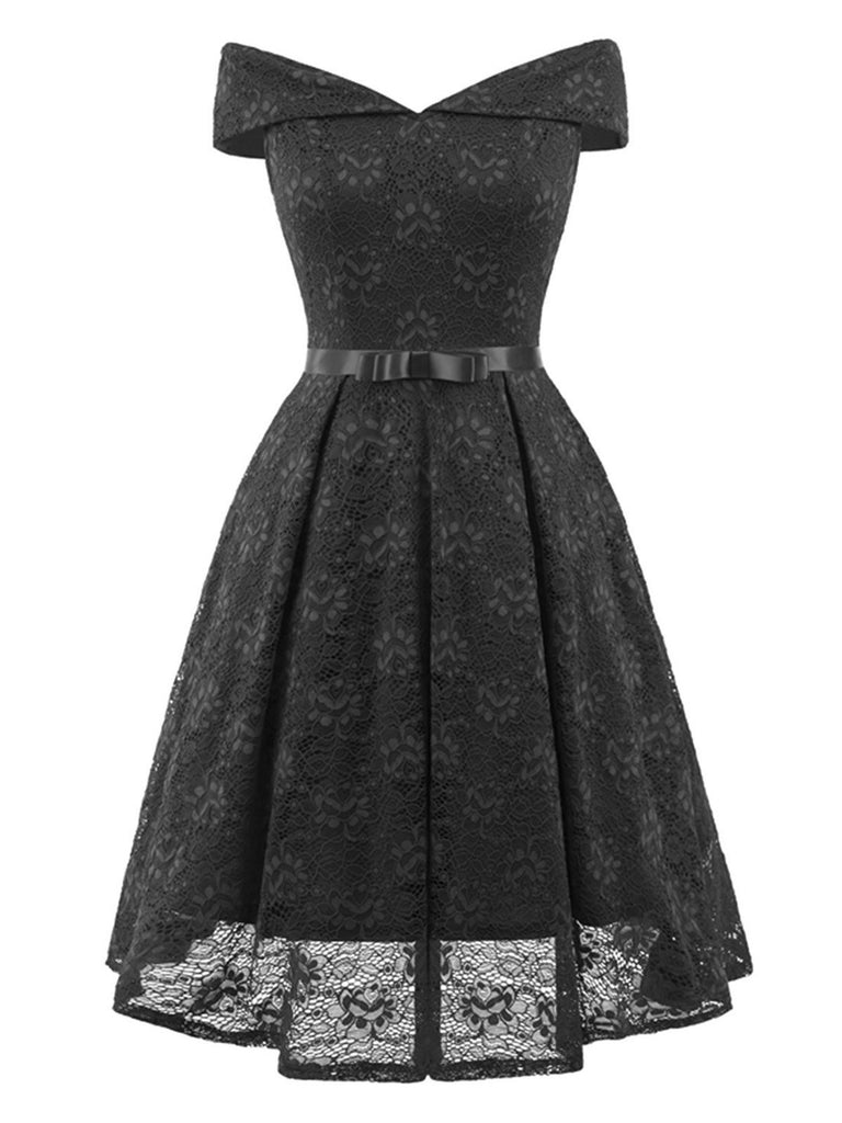 1950s Lace Off Shoulder Dress