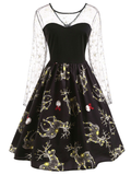 Black 1950s Reindeer Lace Mesh Dress