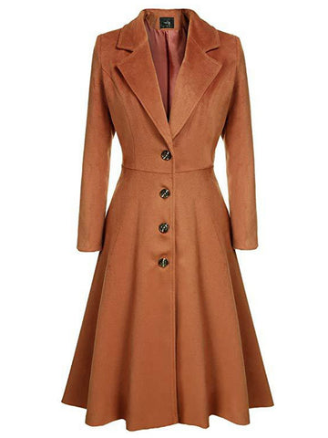 1950s Solid Single-breasted Long Coat