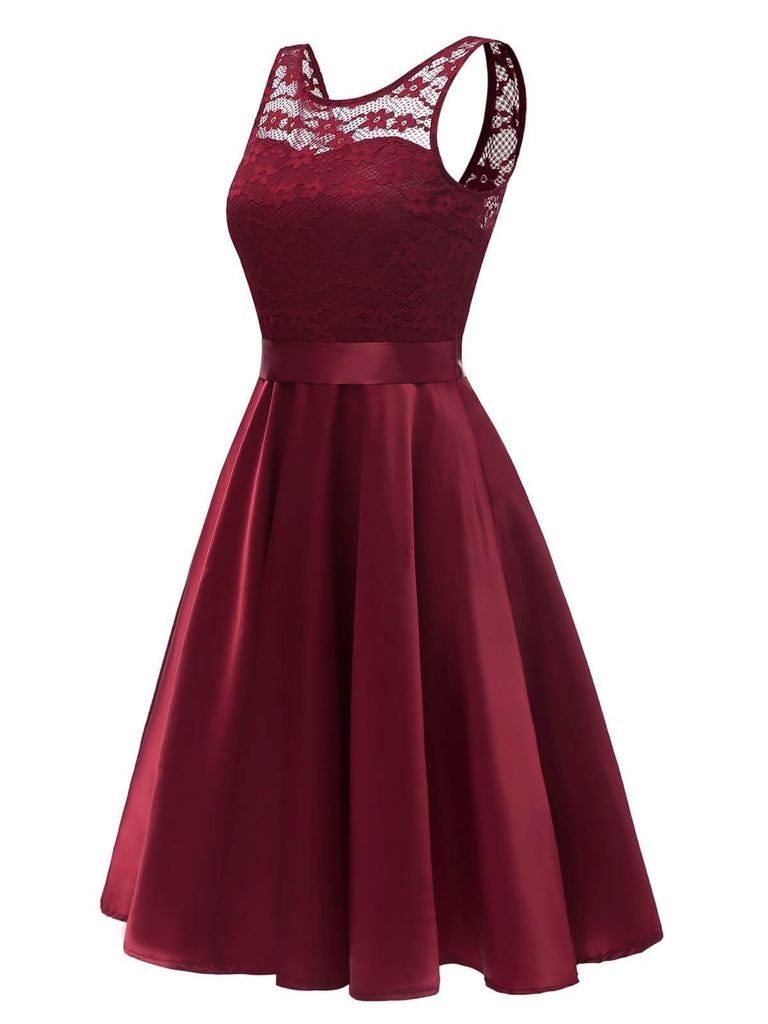 Wine Red 1950s Patchwork Belted Swing Dress