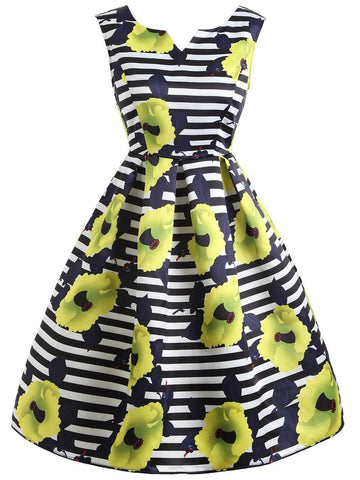1950s Yellow Floral Striped Dress