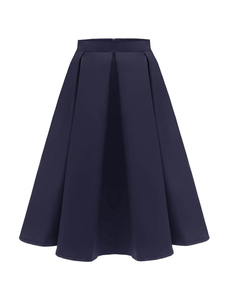 1950s Solid High Waist Pleated Skirt