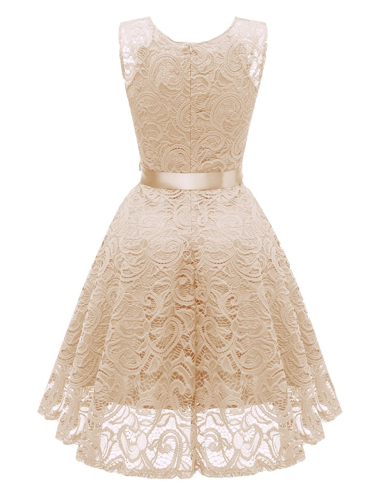 Special 1950s Lace Floral Bow Dress