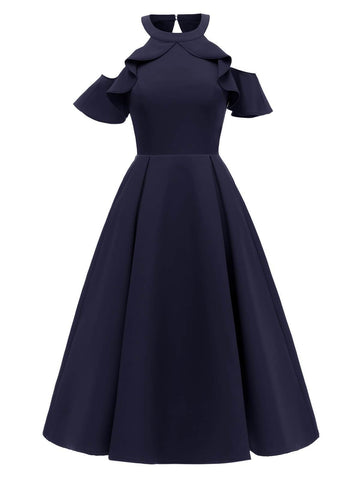 1950s Cold Shoulder Wedding Guest Dress