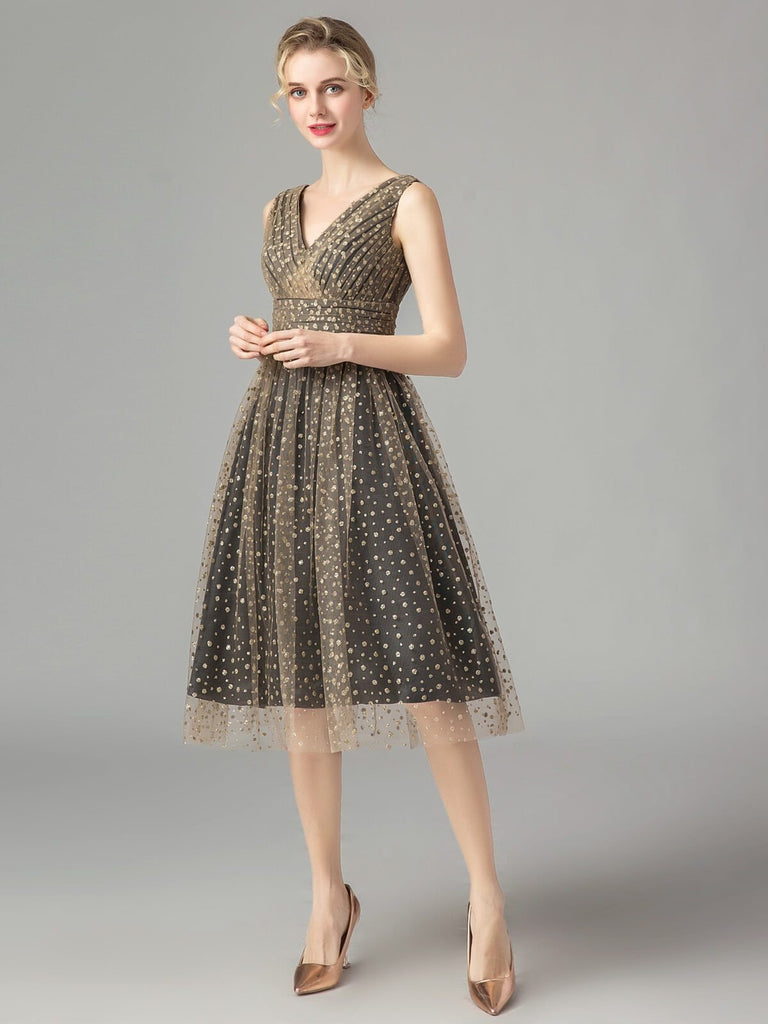 Vintage Dot Lace Bridesmaid Dress