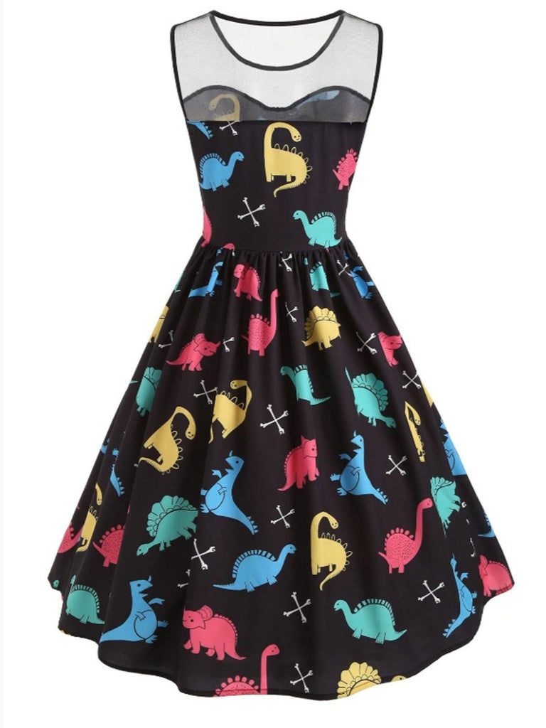 Black 1950s Dinosaur Mesh Dress