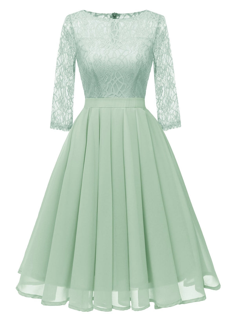 1950s Lace 3/4 Sleeve Swing Dress