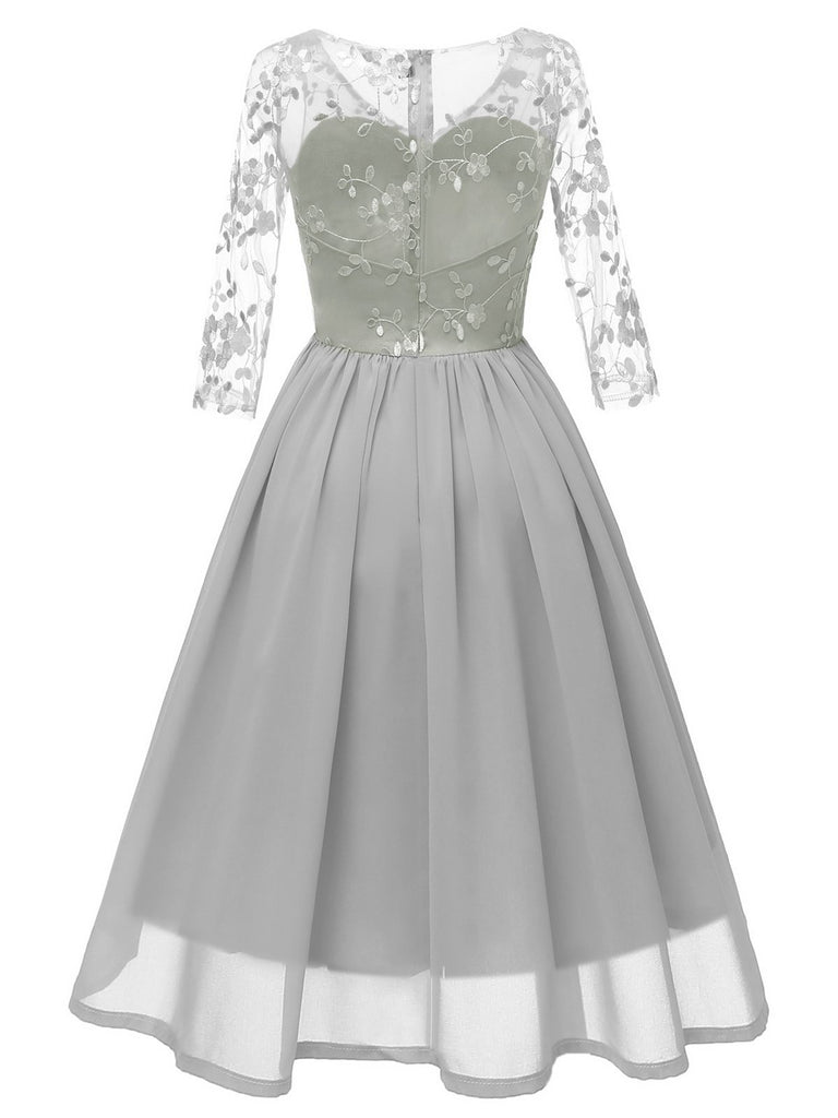 1950s Lace Embroidery Chiffon Dress